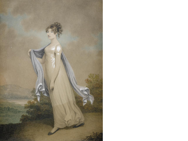 Adam Buck (Irish, 1759-1833) Portrait of a lady, full-length, in a white dress and a blue shawl, standing before an open landscape