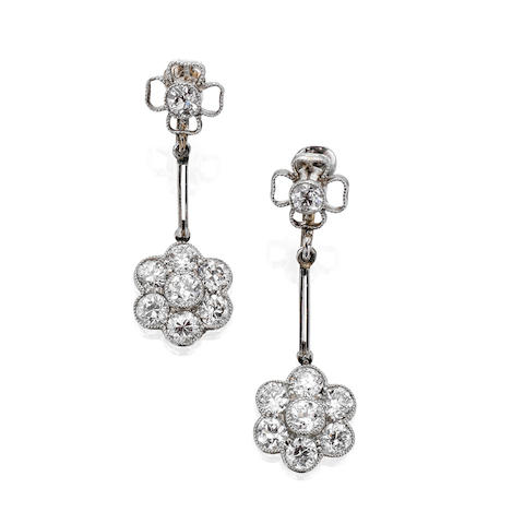 A pair of early 20th century diamond pendent earrings