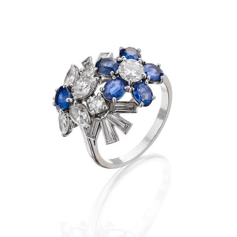 A sapphire and diamond dress ring, by Cartier,
