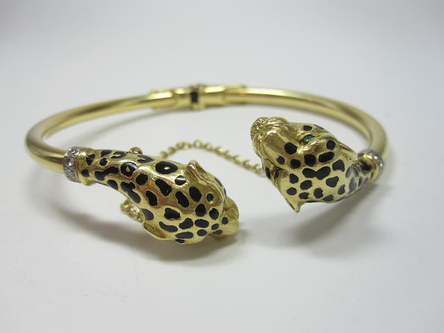 An enamel and diamond leopard bangle
