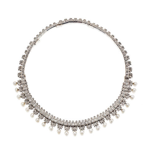 A late 19th century pearl and diamond necklace/tiara