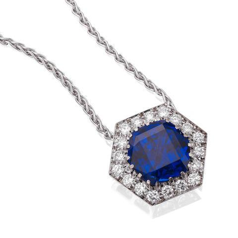 A fine sapphire and diamond pendant