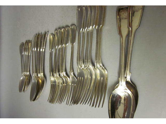 A composite canteen of Victorian/William IV fiddle and thread pattern canteen of flatware, mixed makers, London 1834/35/37/50