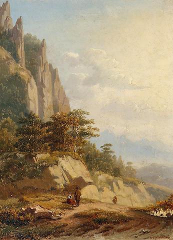 Bernard Vangobbelschroy (Belgian, 1825-1870) Figures in a mountain landscape