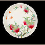 A famille rose 'peaches and bats' dish Yongzheng six-character seal mark and possibly of the period