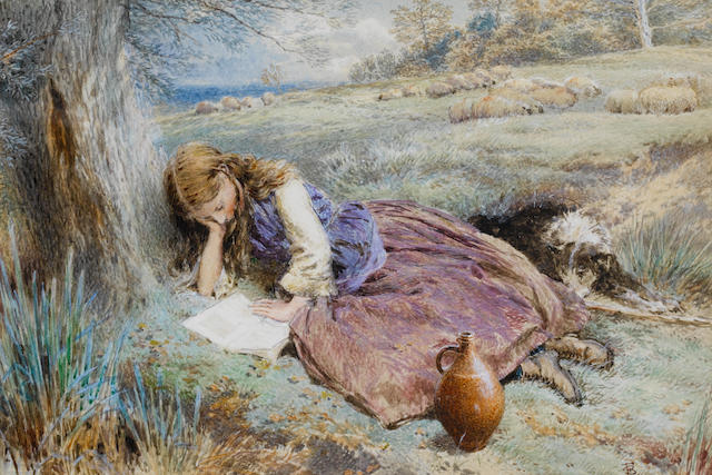 Myles Birket Foster, RWS (British 1825-1899) The shepherdess