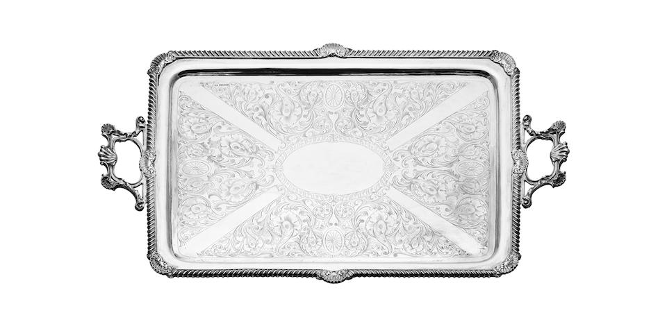 A large twin handled silver tray By J. Round, Sheffield 1904