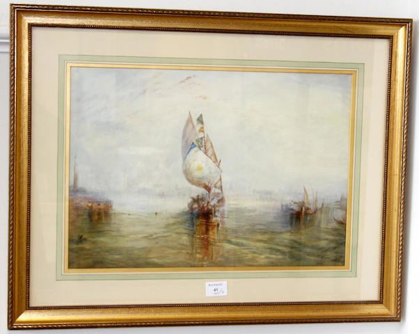 After Joseph Mallord William Turner, RA Gondolas on the Grand Canal, Venice; and another similar, pair