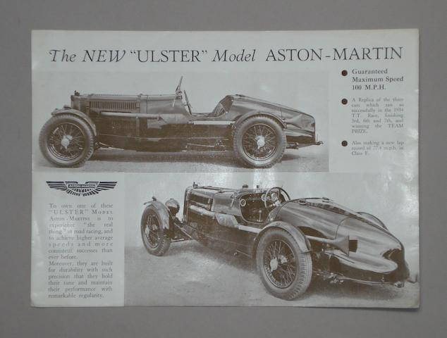 An Aston Martin Ulster sales sheet,