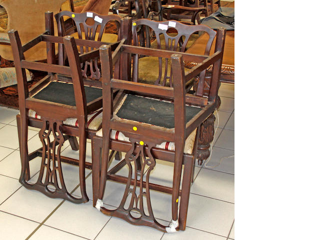 A set of four late Victorian mahogany Georgian style dining chairs,