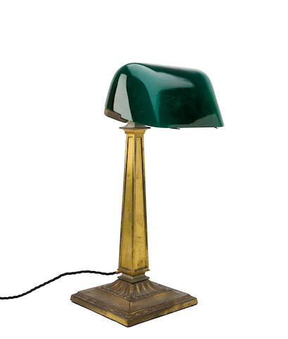 A mid-20th century brass plated desk light