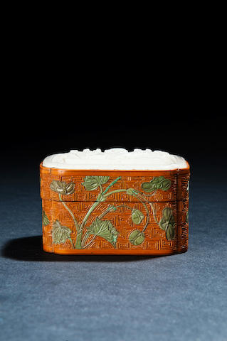 A fine and rare gold-lined jade-mounted bamboo veneered box and cover Qianlong (the jade cover Ming dynasty)