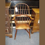 A 19th Century ash and sycamore high-back Windsor armchair