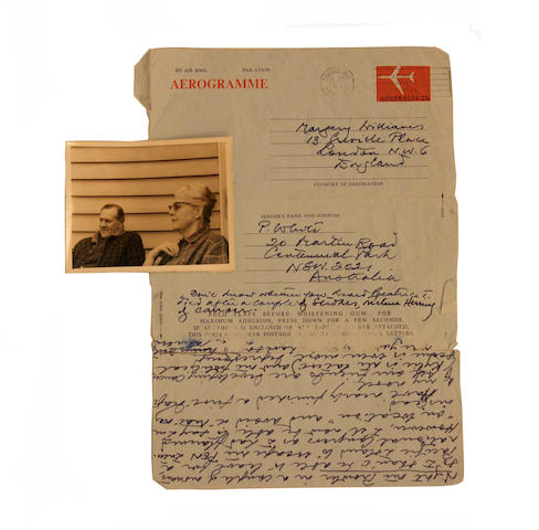 "Patrick White (Australian, 1912-1990) A collection of correspondence including 23 autograph letters signed, 10 typed letters signed, one 2-page a.l.s fragment, 8 autograph postcards and w cards, to Margery WILLIAMS (1906 -1988), ""Dogwoods"" (Castle Hill), Centennial Park, London, Paris, Athens, Kavalla and elsewhere, 11 December 1960-29 October 1987, approximately 103 pages on 54 leaves, plus cards, various sizes, many letters with original envelopes; with related letters( including correspondence from Angus Wilson to Williams), 3 pp.ms fragments written by Williams, a 3pp.carbon copy of a letter from Williams to White, 30 original photographs, related newspaper clippings: and copies."