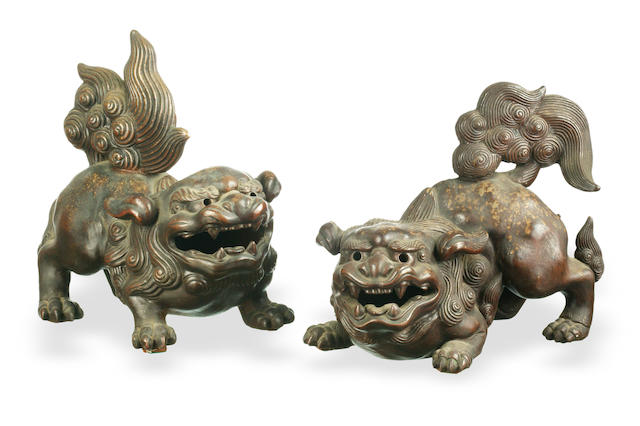 A pair of Japanese Bizenware shi-shi, 19th century