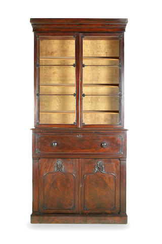 A George IV mahogany secretaire bookcase