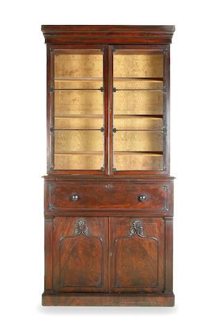 A George IV mahogany secretaire bookcase