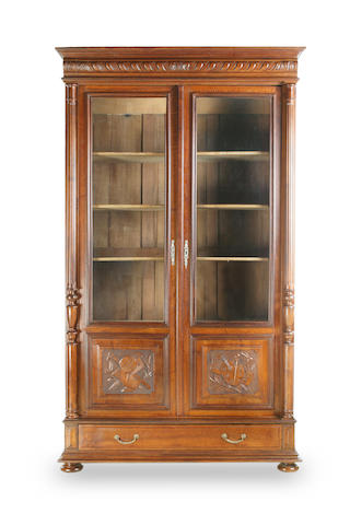 A French walnut bibliotheque