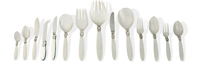 A Georg Jensen 'Cactus' pattern sterling silver flatware service for twelve disigned by Gundorph Albertus