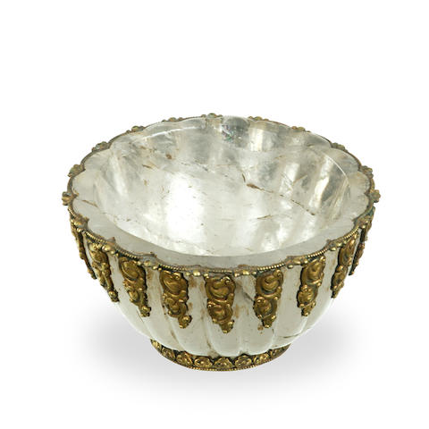 A Sino-Tibetan rock crystal and gilt bronze mounted bowl