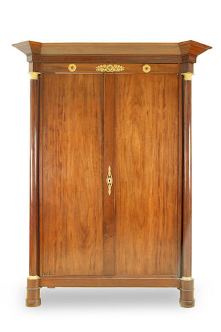 A Directoire period mahogany and gilt mounted Armoire