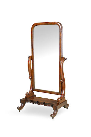 A 19th century cedar and mahogany cheval mirror