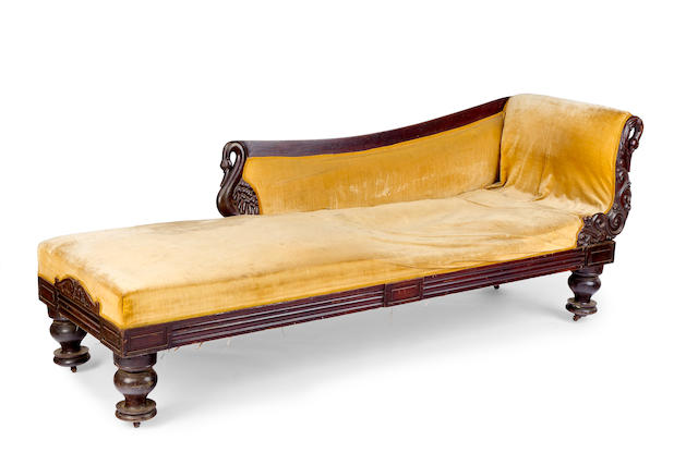 A large William IV rosewood and upholstered chaise longue