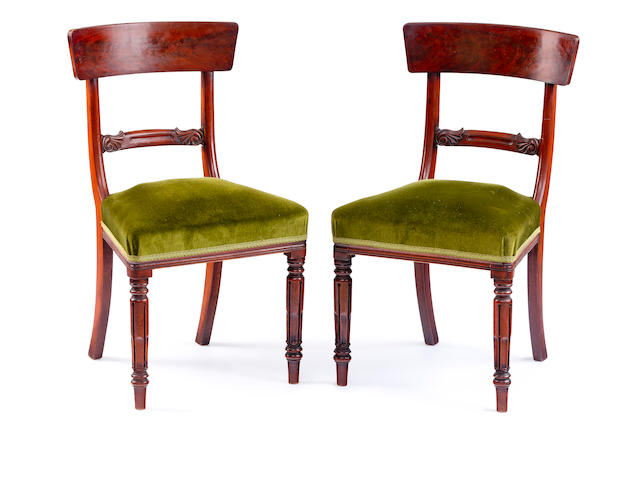 A pair of William IV mahogany single chairs
