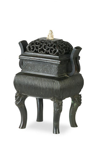 A Chinese bronze footed censer