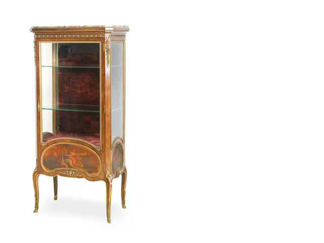 A Transitional style kingwood and Vernis Martin vitrine