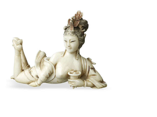 A Chinese ivory erotic carving 19th century