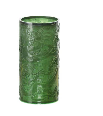A Chinese deep spinach jade brushpot  20th century