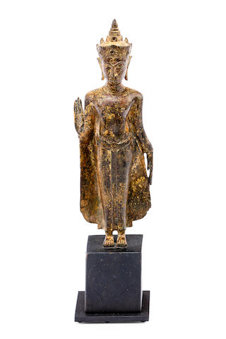 An Ayuthia standing gilded bronze Buddha 17th/18th century