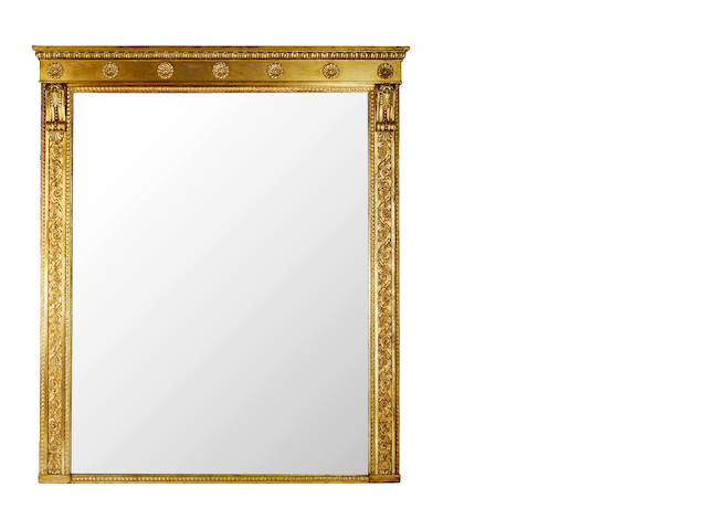 A large Regency giltwood overmantle mirror