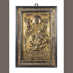 An early 17th century Venetian gilt metal plaquette depicting the Virgin and Child / Charity