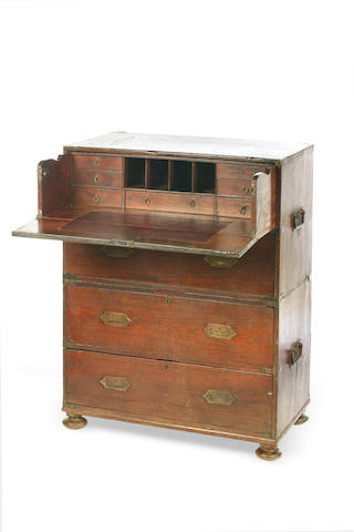 A teak campaign secretaire chest