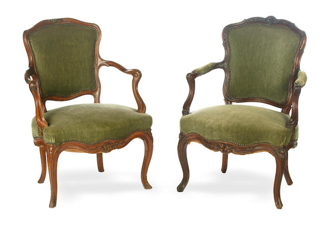A near pair 18th century Louis XV walnut fauteuils à la Reine