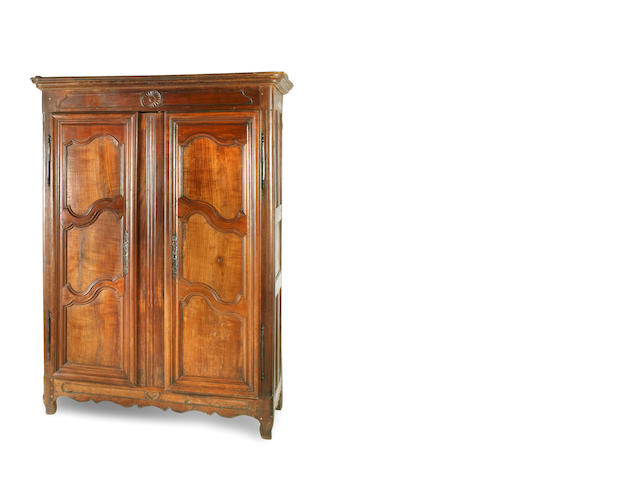 A 18th century Louis XV oak, walnut and cherry armoire