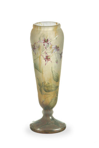 A Daum Nancy four colour cameo vase