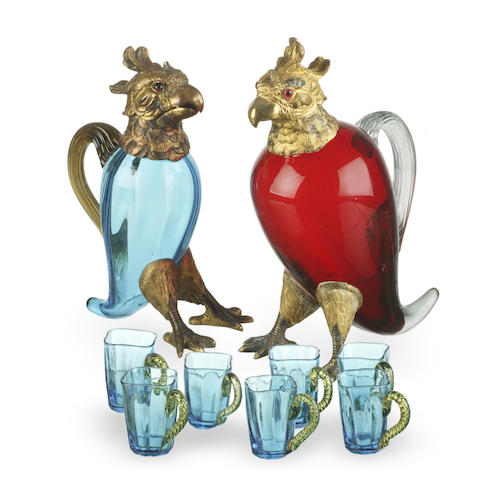 A Liquor parrot-shaped carafe in ruby glass circa 1930