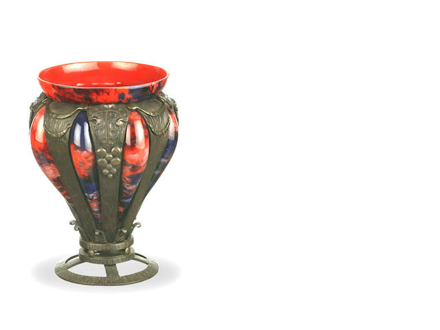 A Chappell Nancy bronze mounted glass vase in red and blue