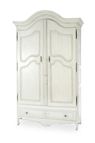 A Louis XV later painted walnut armoire