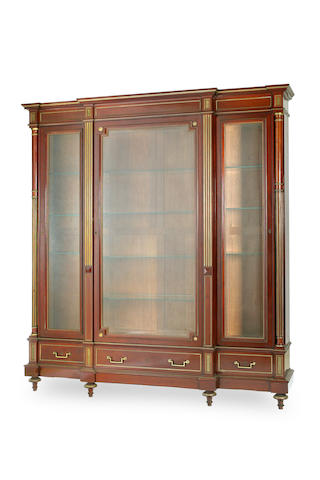 A Directoire style mahogany and brass mounted breakfront bibiliothèqueFrench Circa 1890
