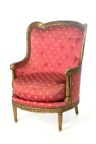 A Directoire style gilt wood and upholstered bergere French, 19th Century
