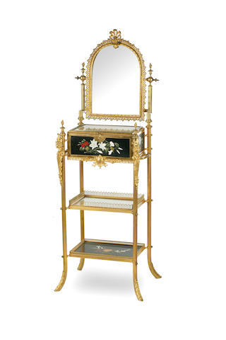 A French gilt bronze, brass and pietra dura dressing table Early 20th Century