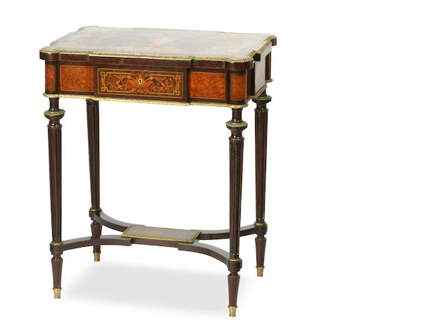 A Louis XVI style walnut, thuya and marquetry inlaid dressing table French, circa 1880