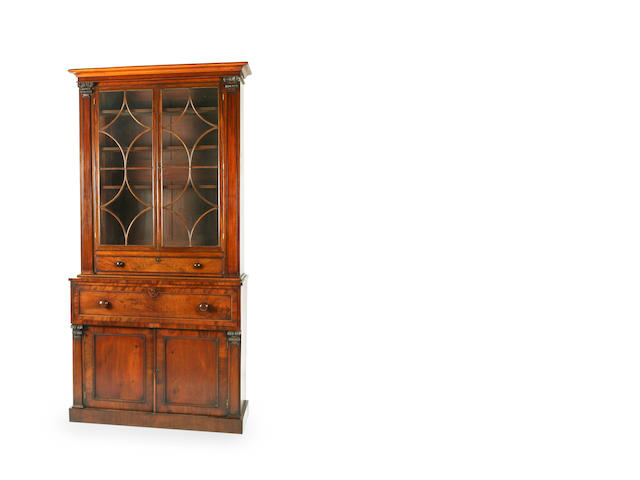 A William IV mahogany secretaire bookcase