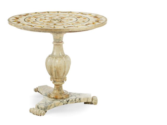 A late 19th Century Italian inlaid alabaster centre table