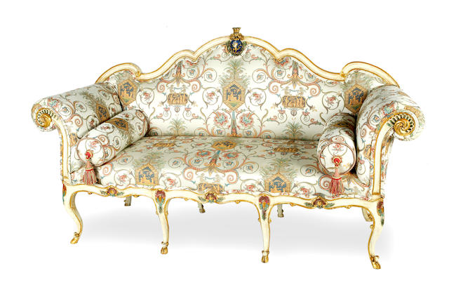 A late 19th Century Italian painted and upholstered canape