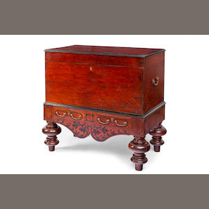 A Ceylonese hardwood and and ebony chest on stand Second half 19th century